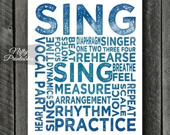 Singer Art Print - INSTANT DOWNLOAD Singer Print - Singer Wall Art - Music Wall Art - Singer Gifts - Vocalist Art Poster - Gifts For Singers