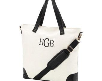 Personalized Black Sullivan Shoulder Canvas Tote Bag