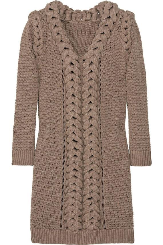Hand Knit Women Tunic dress sweater coat jacket women made to