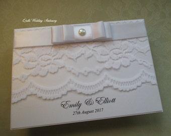 Lace Beau. Wedding Invitation. Pearl and Lace Wedding. Pocket Invite.