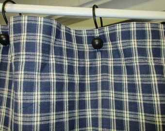 Country Primitive Navy Blue Plaid Homespun Shower Curtain Lodge Cabin Rustic Bathroom