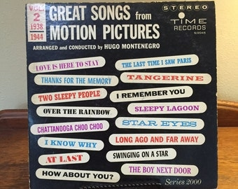 MOVIE SOUNDTRACK RECORD, Vintage movie songs, 1940s movie music, 1930s movie music, Motion Picture theme songs, Over the Rainbow, At Last
