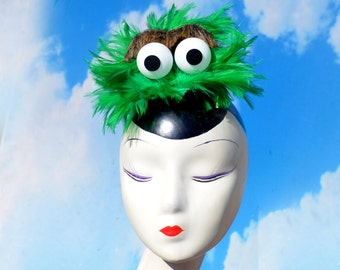 """Green """"Ozzy the Perpetually Pissed Off"""" Monster Fascinator Hat - Inspired by Sesame Street"""