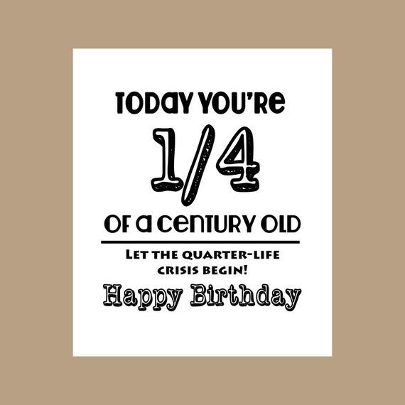 25. Geburtstagskarte 1/4 Jahrhundert Alte Karte