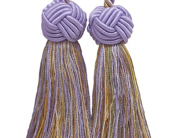 Double Tassel, Lilac Gold, Tassel Tie with 3.5 inch Tassels, WINTER LILAC - 8426