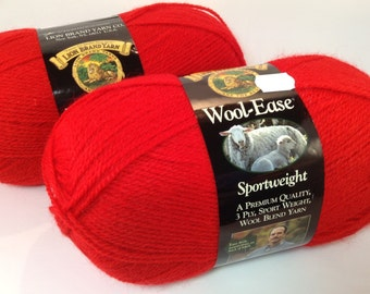 Lion Brand Wool-Ease Sportweight in Color Ranch Red, Lot of 2 Skeins