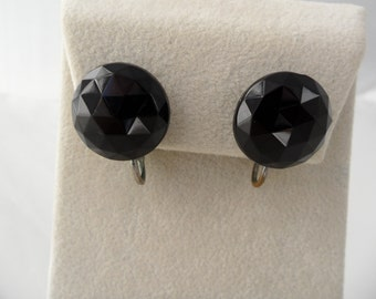 Vintage Black Stud Earrings Gothic Earrings Black Clip on Earrings Goth Earrings Punk Earrings Black Glass Earrings Black Clip Earrings