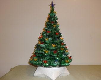 """Vintage 18.5"""" Ceramic Light Up Christmas Tree with Multi Colored Bird Light Pegs"""