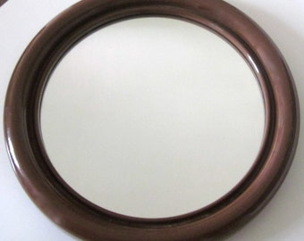 Mid Century Mirror -brown plastic-  Panton Era