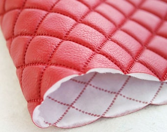 Quilted Faux Leather Fabric Red