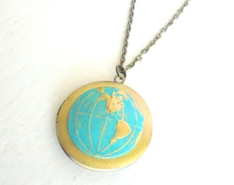 World Globe Locket, Hand painted Jewelry, Steampunk Necklace, Traveller Gift