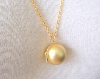 Golden Sphere Locket, Ball Locket, Globe Locket Necklace, 18K Gold Fill Chain, Gift Boxed