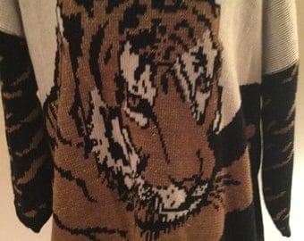Brunny Box Cut Tiger Sweater Vintage 1980s