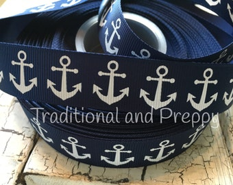"3 Yards 7/8"" Nautical white and Navy Anchor  grosgrain ribbo"