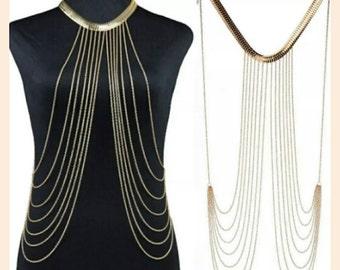 Multilayer tassel chocker necklace gold body chain.