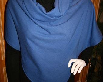 Poncho Blue Cowl Neck Wrap Ladies Cover Up Sky Blue
