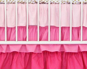 Light Pink Gradient Ombre Ruffle Crib Skirt