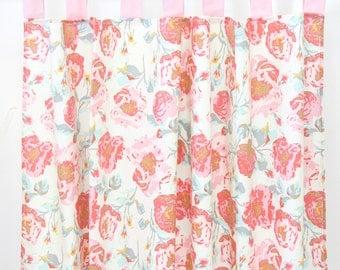 Felicity's Floral | Aqua and Pink Vintage Floral Plaid Curtain Panels (set of 2)