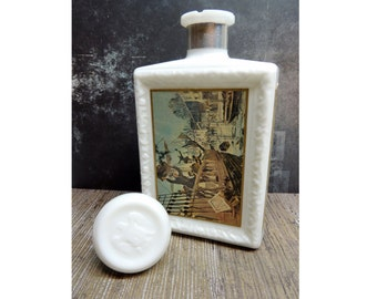 Vintage What is Americana Collection Decanter JW Dant Boston Tea Party , Kentucky Bourbon Collectible glass, Country Chic,