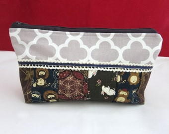 Cosmetic bag, Zipper pouch, Makeup bag, Patches purse, Women purse, Zipper Purse, Mother's day Gift, Gift for Her