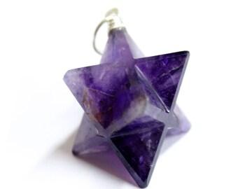 Purple Amethyst Merkaba Star Pendant Silver Toned Bail (RK65B6-01)