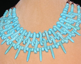 Turquoise Bead Collar-to-Princess Length Necklace