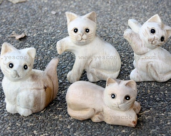 Wooden Cat Statue Figurine Sculpture Unfinished Wood Carving Animals