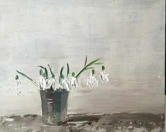 snowdrops, original oil painting on panel 20x20cm