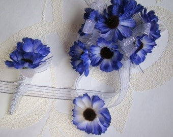 NEW Corsage Boutonniere & Ring set.  Great Prom flowers.  Blue Cineraria flowers.   PR-90