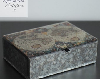 Stunning antique style mirrored jewelry box with 16th Wold Atlas great gift