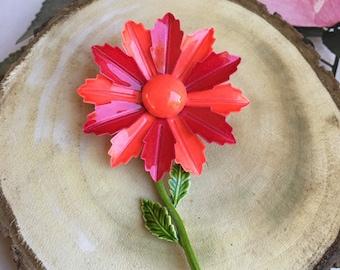 1960's Enamel Flower Brooch in Bright Fuchsia Pink & Orange