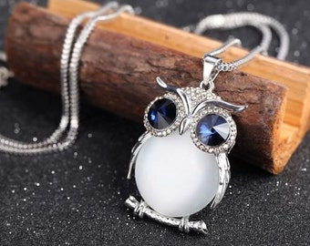 Original Design Handmade Crystal/Opal Owl Necklace