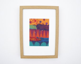 """wall art, abstract, home decor, housewarming gift, modern, abstract art, textile art, """"warm summer evening"""""""
