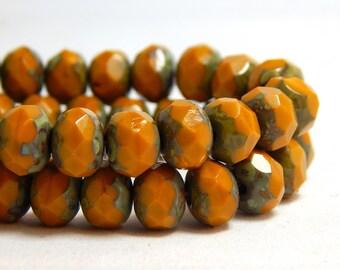 8x6mm Mustard Yellow Beads, Rustic Yellow Beads, Glass Beads, Earthy Beads, Dark Yellow Beads, Rustic Beads, Yellow Gold Beads, T-077B