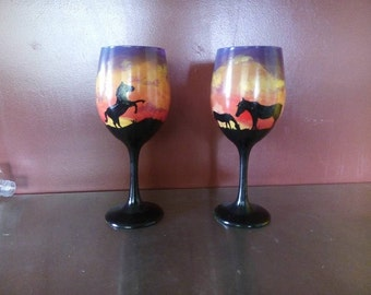 Horse and sunset wine glass