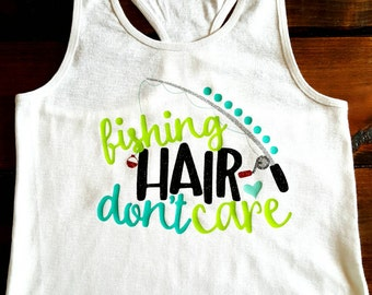 Fishing hair, don't care tank top