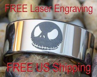 Tungsten Carbide Band 10mm Pipe Jack Skellington Design Ring Sizes 4-17