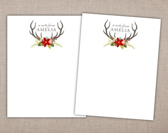 HOLIDAY STATIONERY - Printable Holiday Stationery, Christmas Note Pad, Rustic Holiday Stationary Set, Antler Stationery w/ Christmas Flower