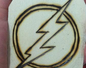 Flash Logo Woodburned Ornament