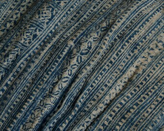 "Long Vintage Hmong Tribe 192"" x 13"" Indigo Batik Skirt Section   - B8"