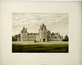 Wynnstay (Near Ruabon, Denbighshire) Williams-Wynn, England * 1880 Vintage Antique Castle Lithograph * Landscape Beautiful!