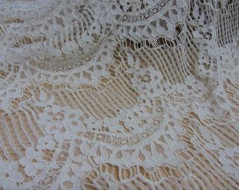 white Corded Lace Fabric,off white wedding lace fabric-eyelash lace