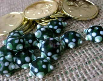 12pc, 13x9mm Green/ White LAMPWORK Glass Rondelle Beads!! ~ Loose Beads