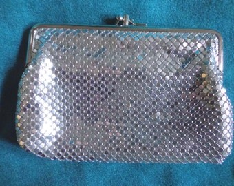Silver Mesh Clutch Purse, Two Sections, Evening, Makeup, Cosmetics, Vintage