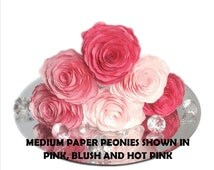 Paper flowers, Paper Peonies, Flower cake topper, 3 sizes to choose, Event decor, Wedding flowers, Coffee filter flowers, Paper flower decor