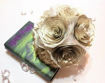 Harry Potter wedding bouquet, Book page bouquet, Harry Potter book page flower bouquet, Paper book Rose bouquet, Book page bouquet
