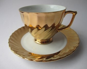 vintage 1950s Australian fine china gold teacup and saucer
