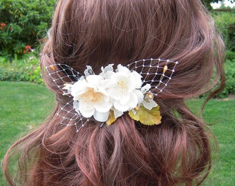 Ivory Flower Hair Clip, Ivory and Gold Bridal Hair Accessories, Lace*Gold Berries and Leaves*Russian Veil Netting, Rustic Woodland - RB0091