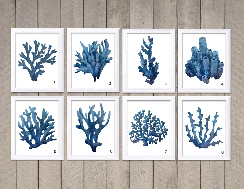 Navy Blue Coral Wall Art Coral Prints Coral Watercolor Wall