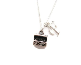 Treasure Chest Necklace Personalized Gamer Gift Customized Pirate Necklace Initial Necklace Letter Necklace Treasure Chest Jewelry